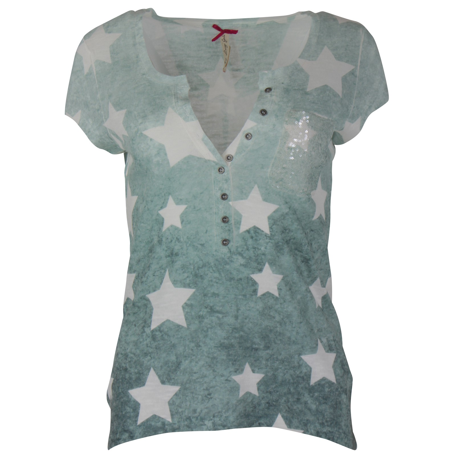 f6cf28df1e7462 KEY LARGO Damen T-Shirt Spray Dye Sternen Top Brusttasche Pailletten ...