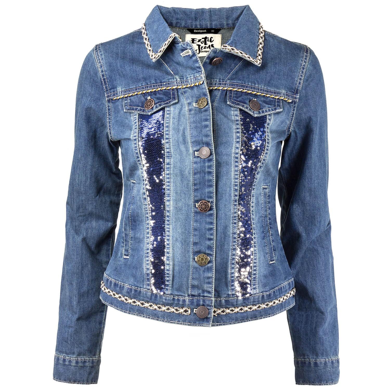 Details zu Desigual Damen Jeansjacke Jeans Jacke mit Borten Pailletten Stonewaschung