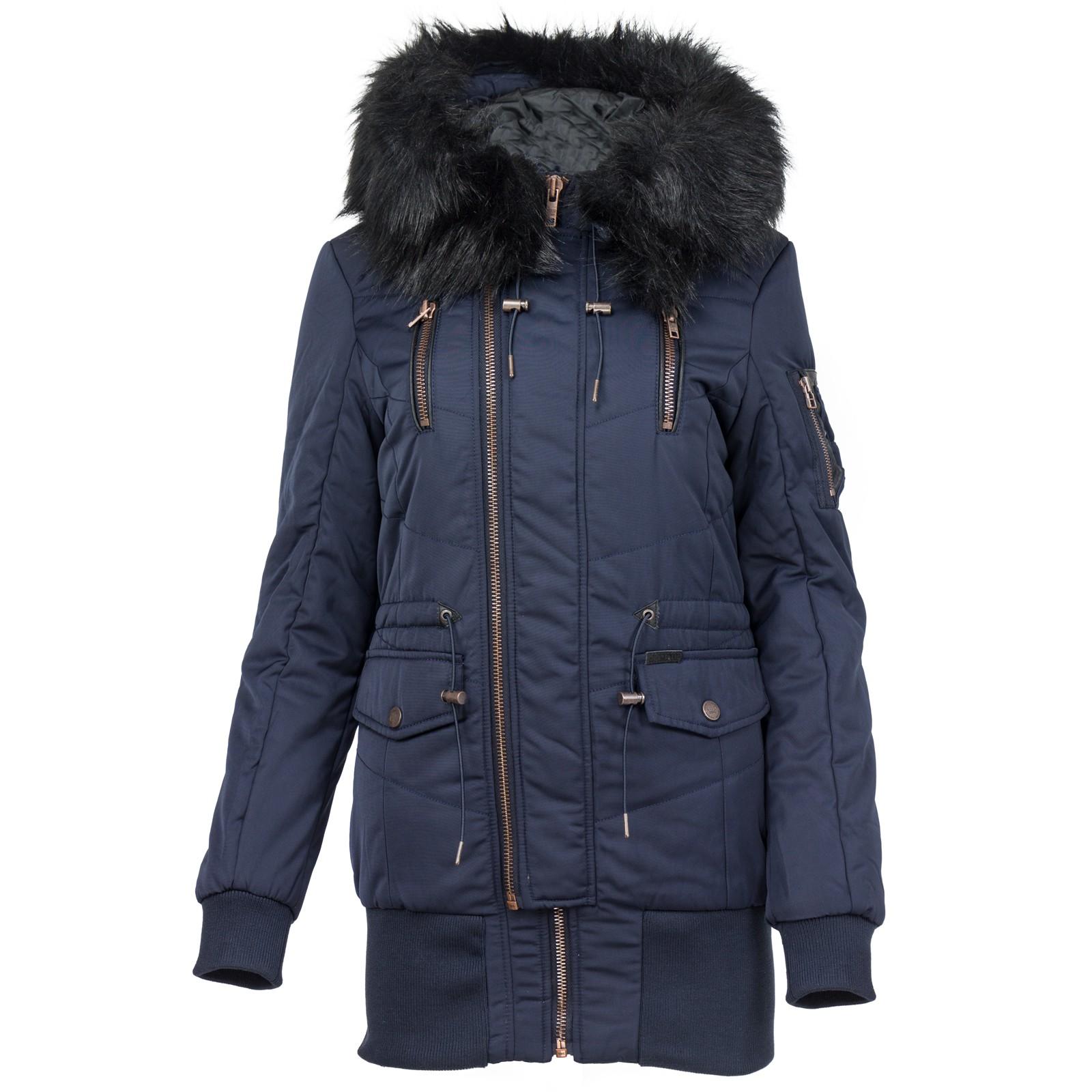 Details zu Khujo Damen Winterjacke mit Kapuze Kunstfell Fake Fur Winter Jacke Damenjacke