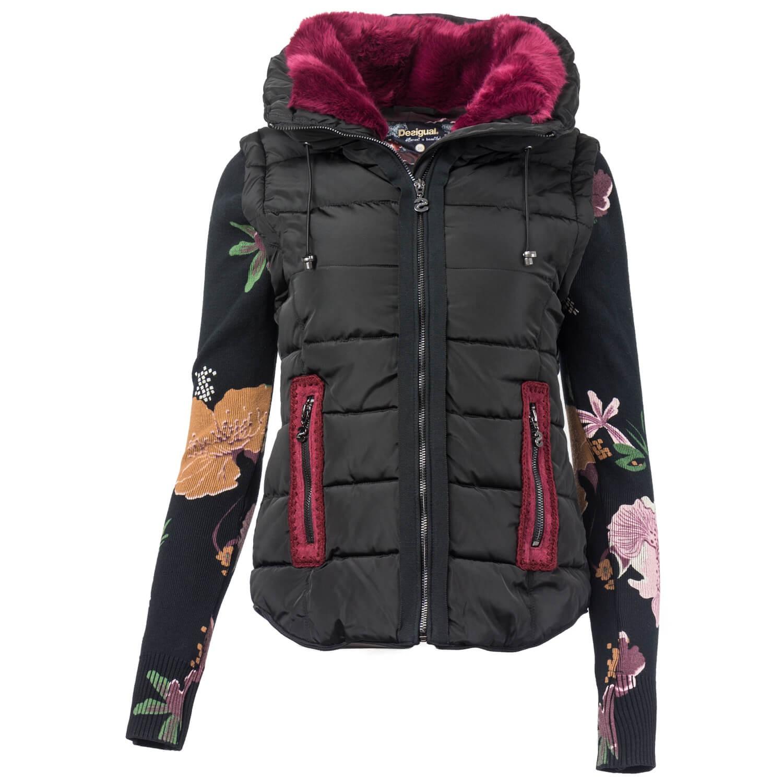 Details zu Desigual Damen 2 in 1 Jacke Weste mit floralen Strickärmeln farbiges Kunstfell