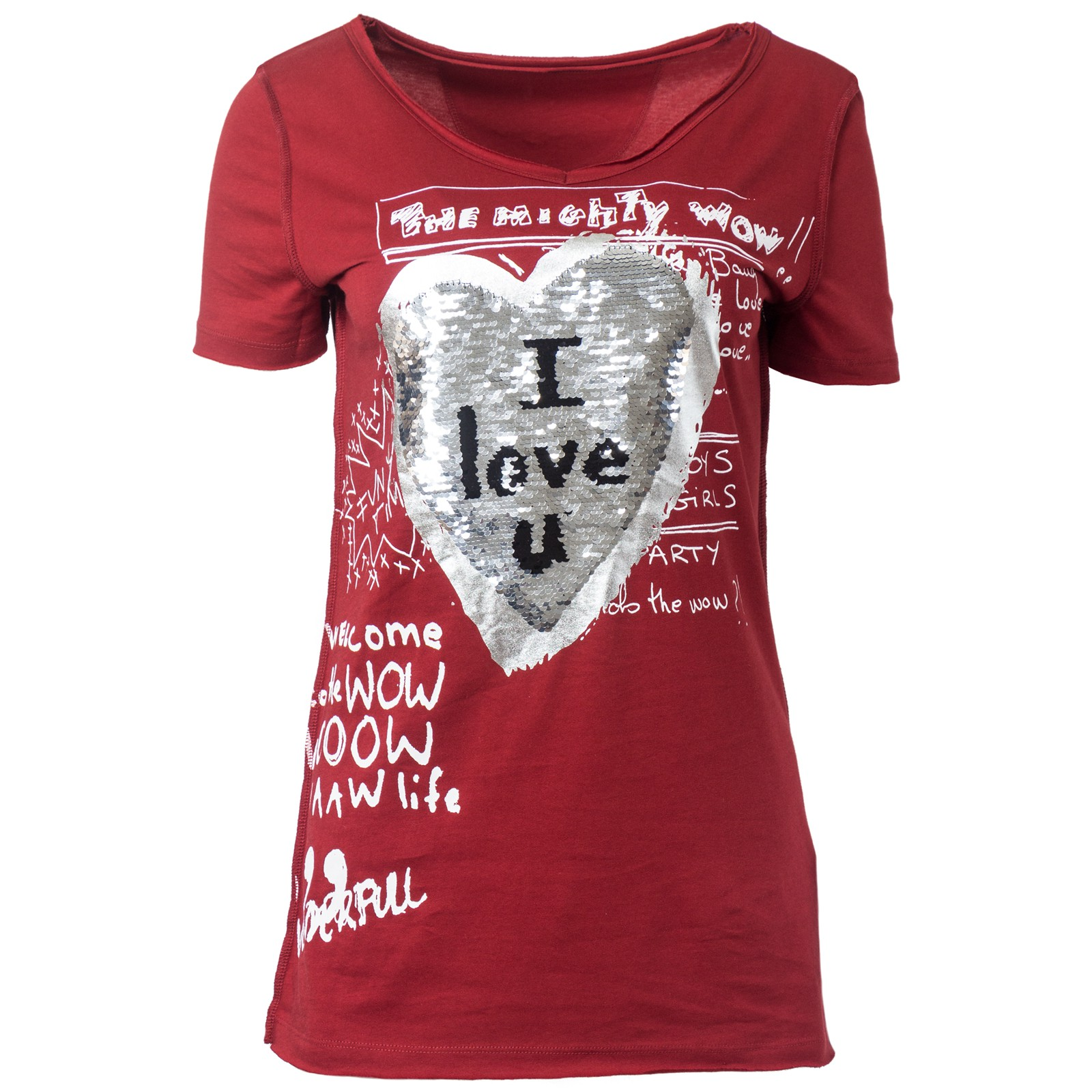 desigual damen t shirt mit wendepailletten v ausschnitt. Black Bedroom Furniture Sets. Home Design Ideas