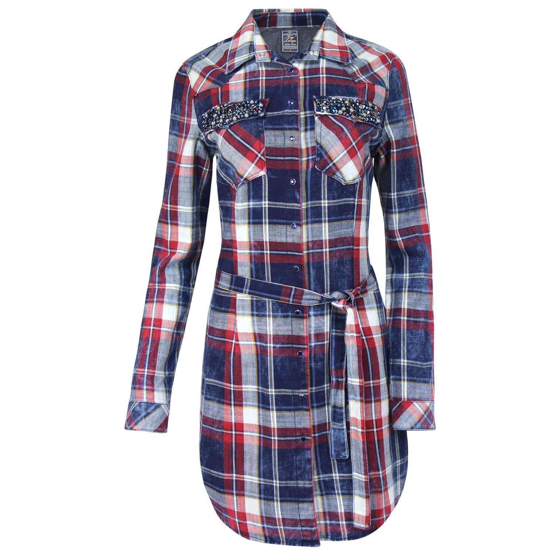 key largo damen blusenkleid hemd shirt blusenhemd kleid langes holzf llerhemd ebay. Black Bedroom Furniture Sets. Home Design Ideas