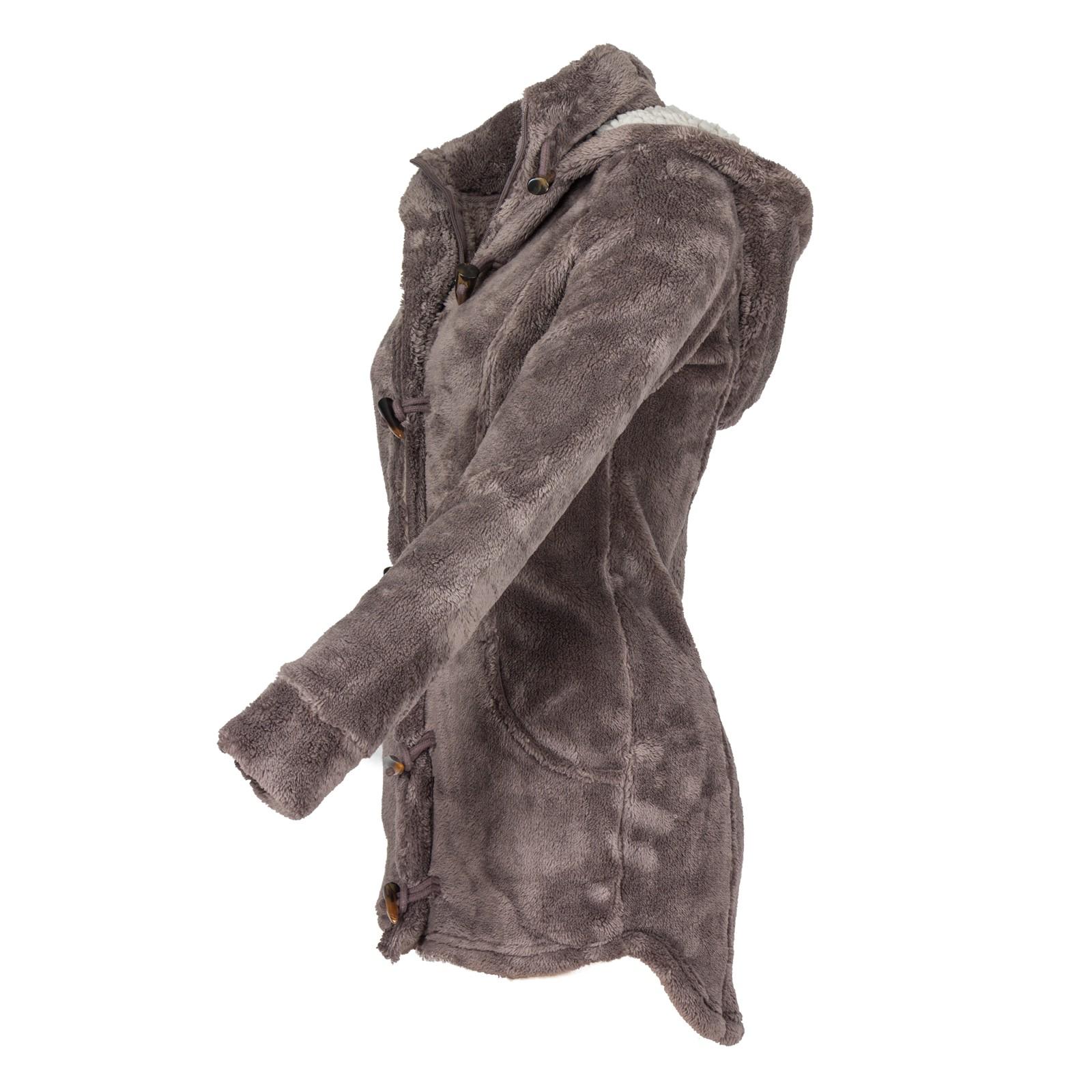 Fresh Made Damen Fleece Mantel Kapuze mit Teddyfell Kuschelig Weich Wintermantel